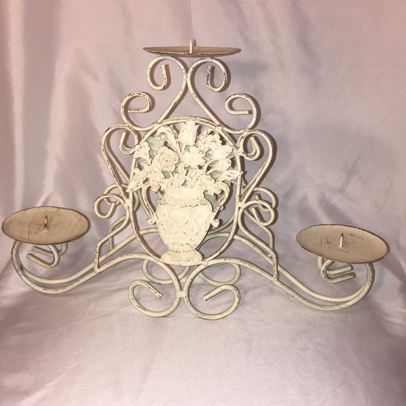 Off white metal candle holder